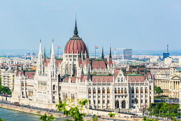 Aluminium Prints Budapest Parliament of Budapest from above
