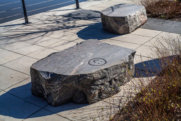 Urban rocky furnitures with a smiley