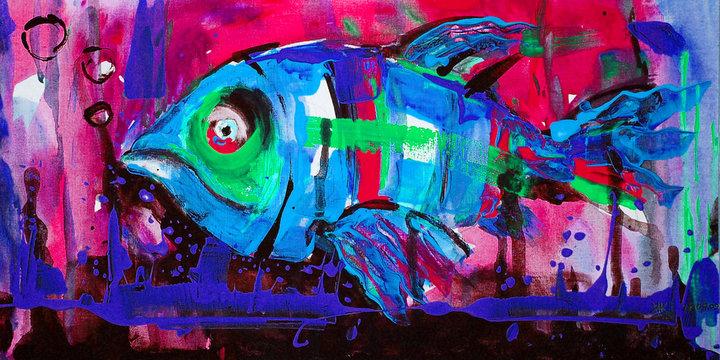 Dipinto acrilico colorato pesce azzurro sott'acqua oceano