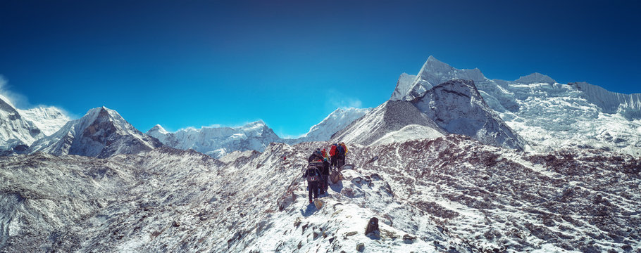 Mountaineers make climbing Mount Island Peak Imja Tse , 6,189 m, Nepal.