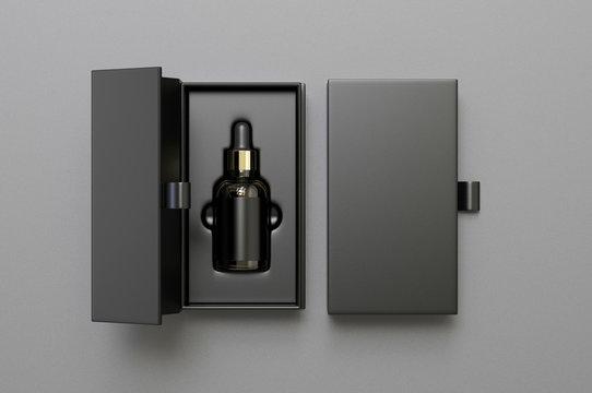 Blank dropper bottle paper box packaging, 3d render illustration.