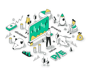 Investment Strategy Isometric Concept