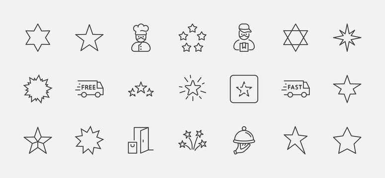 Set of Stars Vector Line Icons. Contains such Icons as Starry night, falling star, firework, twinkle, glow, glitter burst and more. Outline signs for glossy material. Editable Stroke. 32x32 Pixels.