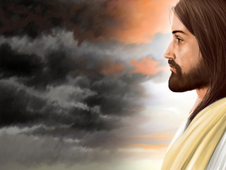 The light of Jesus Christ with a dark stormy sky background.
