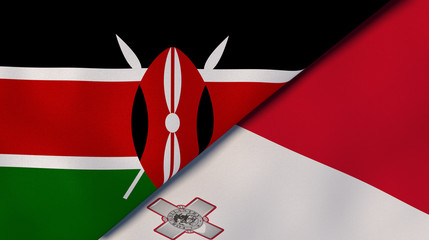 The flags of Kenya and Malta. News, reportage, business background. 3d illustration Wall mural