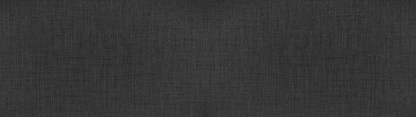 Dark anthracite gray black natural cotton linen textile texture background banner panorama