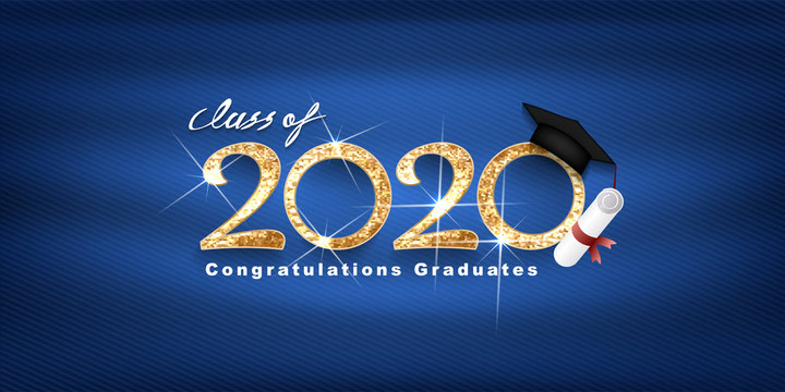 Class of 2020 Vector text for graduation gold design, congratulation event, T-shirt, party, high school or college graduate. Lettering for greeting, invitation card