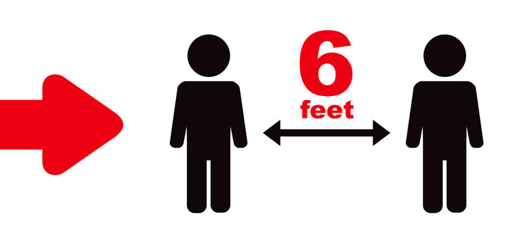 Keeping a Distance Vector Sign.6 feet Rule. Social Distancing Vector Icon. Red-Black Sign on a White. Social Distancing Campaign. Design Showing 6 feet Distance from Each Other. Physical Distancing.