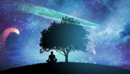 Yoga cosmic space meditation illustration, silhouette of man practicing outdoors at night Fotomurales