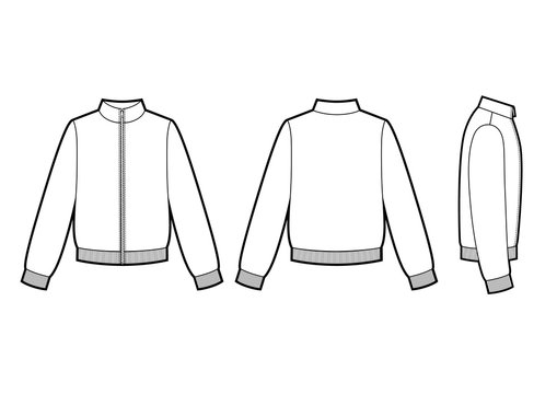 Technical sketch of man sweatshirt. Sport jacket