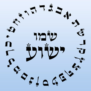 Hebrew Alefbet Circle with Name of Yeshua Jesus