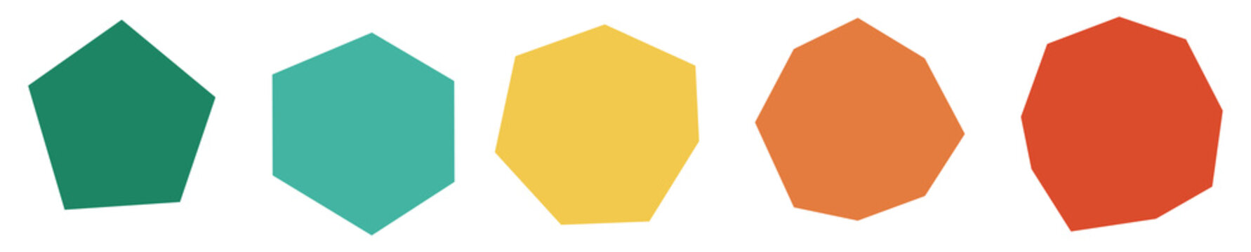 Set of imperfect / unequal polygons with 5 to 9 sides - pentagon, hexagon, heptagon, octagon, nonagon, not all sides or angles equal, icons with different colors