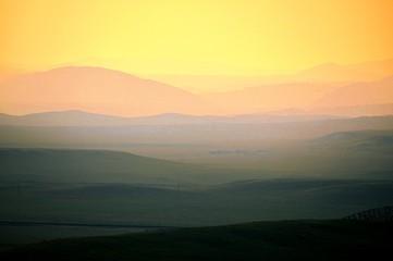 Foto auf Gartenposter Gelb Schwefelsäure Scenic View Of Landscape Against Sky During Sunset