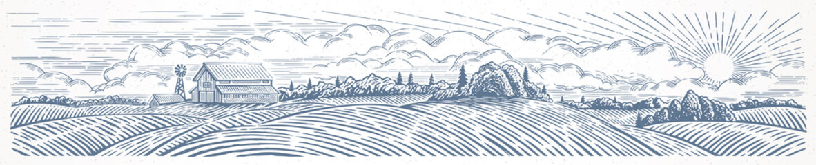 Rural landscape panoramic format with a farm. Hand drawn Illustration in engraving style. Fototapete