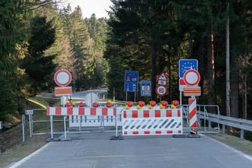 Sulzberg, Vorarlberg/ Austria - 04-08-2020, even country roads, leading from Germany to Austria are closed at the border line due Corona safety measures