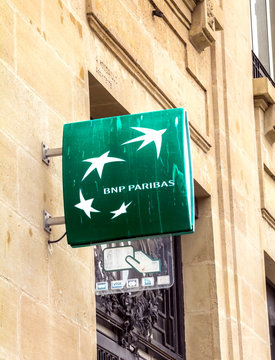 Le Havre, France: Sign outside a branch of the BNP Paribas Bank. Formed through merger in 2000, BNP Paribas is very large French global banking group, which has its headquarters in Paris