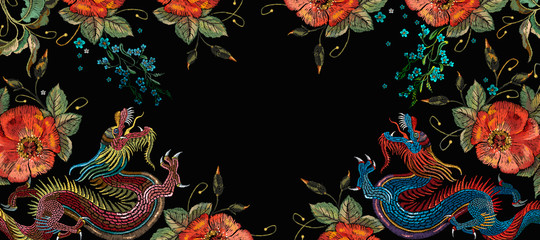 Dragons and red roses flowers. Japanese and chinese art. Fashion horizontal banner for design. Oriental asian concept