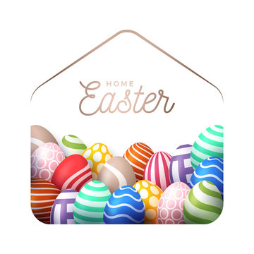 Colorful Happy Home Easter 2020 Card with Funny Vector Minimalist Icon. staying at home badge in Quarantine. COVID-19 Reaction.