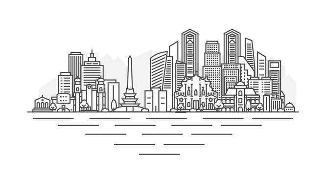 Caracas, Venezuela architecture line skyline illustration. Linear vector cityscape with famous landmarks, city sights, design icons. Landscape with editable strokes isolated on white background.
