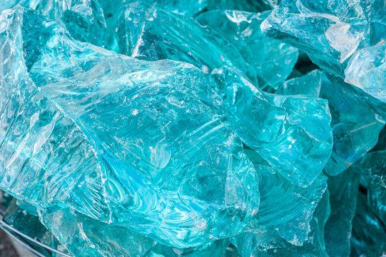Aquamarine gemstone like glass. texture pattern background