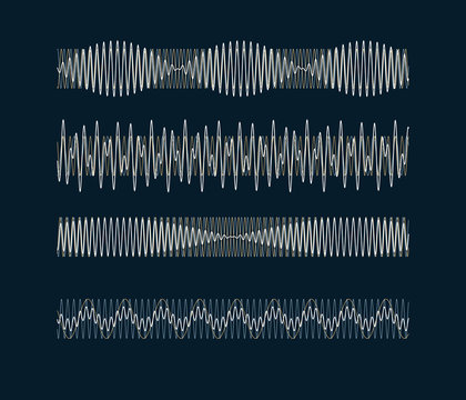 Resulting harmonic sine wave - visualization of acoustic waves types - nature of sound - vector concept of oscillation signal types