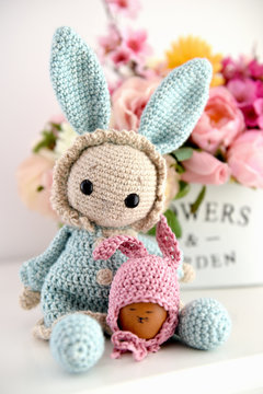 Hand made Easter decoration, flowers and crochet toy bunny