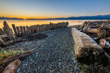 Clear morning at Goose Spit Regional Park, Comox, Vancouver Island, British Columbia, Canada Wall mural