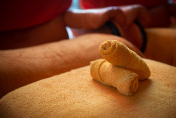 orange towels and a massage place