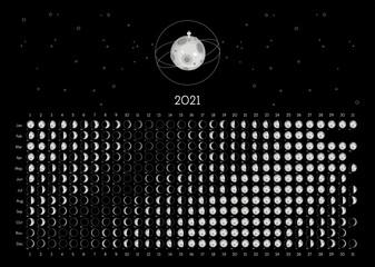 Moon Calendar 2021 Southern Hemisphere black Fotomurales