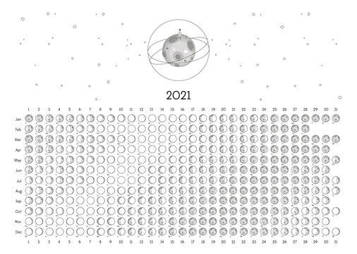 Moon Calendar 2021 Southern Hemisphere white