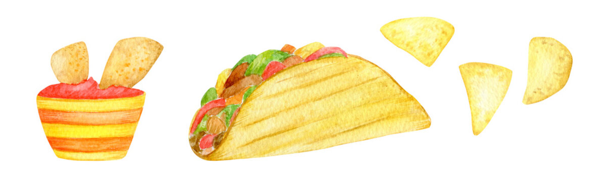 Watercolor illustration of mexican traditional holiday food. Mexico, cinco de mayo icons set. Taco, nachos, tomato sauce salsa isolated on white background.