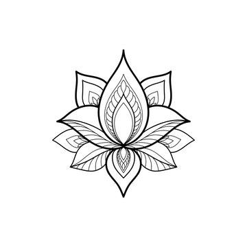 Ethnic Mandala ornament isolated on white background. Henna tattoo design. Vector illustration