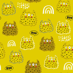 Childish seamless pattern with creative monsters. Funny monsters vector background. Perfect for kids apparel, textile, fabric.