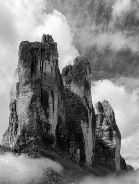 dolomites mountain Italy black and white