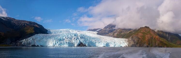 Aialik Glacier panorama on Aialik Bay in Kenai Fjords National Park in Sep. 2019 near Seward, Alaska AK, USA.