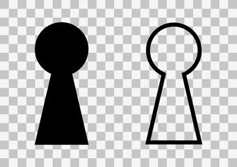 Keyhole simple icon on transparent background. Vector illustration