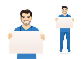 Male nurse character holding empty blank board isolated vector illustration Wall mural