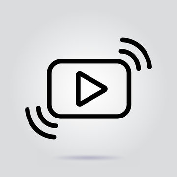 Video streaming line icon stream vector illustration