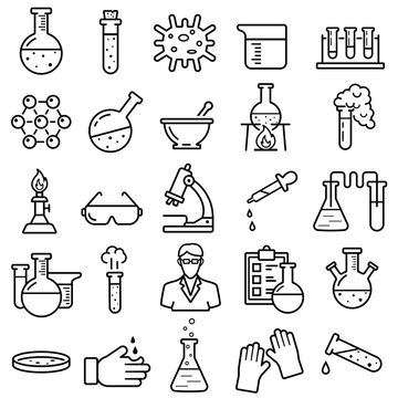 Chemistry Vector Line Icons Set. Contains Icons as Scientist, Flask, Experiment, Virus, Laboratory and more.