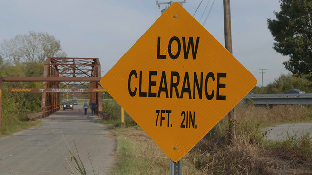 Low Clearance sign at Route 66 Bridge in Sapulpa - USA 2017