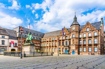 Old town, market square, town hall and the equestrian statue of Jan Wellem, Johann Wilhelm II in Dusseldorf, West Rhine Westphalia, Germany Wall mural