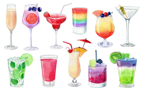 watercolor illustration with alcohol cocktails isolated on white background for menu design. Color  fruit drink in glass. Mojito, daiquiri, margarita, champagne, bloody mary, shots, sex on beach