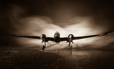 German Junker (Ju-88) night bomber at night. Artwork decoration with scale model of jet-propelled plane in possession. Wall mural