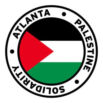 Round Atlanta Palestine Solidarity Flag Clipart