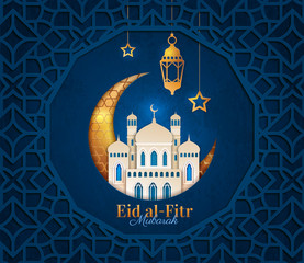 Obraz Eid al Fitr design concept marking the end of Ramadan and the Festival of Breaking the Fast in gold and midnight blue with text, vector illustration - fototapety do salonu