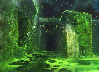 Original painting of a magic surreal place where evrything is covered in green moss and eyes of the alien creature are looking from the dark corner Wall mural