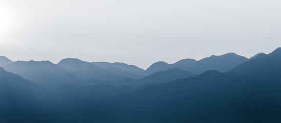 Continuous mountains. The mountain background of Chinese painting.
