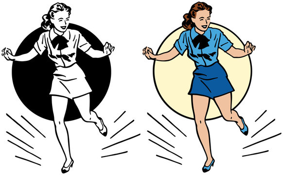 A cartoon of a woman performing a tap dance in a spotlight.