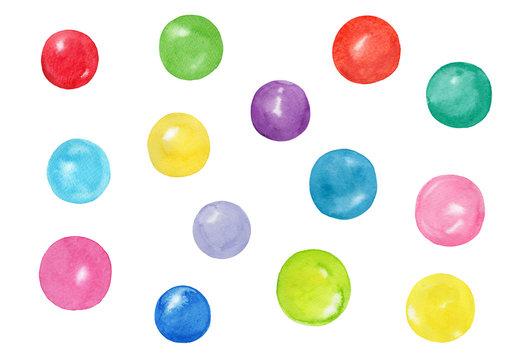いろいろな色のパワーストーン バリエーション 水彩イラストのセット