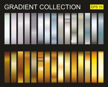 Collection of gradients of gold and silver metals. Set of golden and silver metalic gradients, Vector illustration